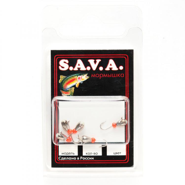 Мормышка S.A.V.A Капля с ушком и фосфором, никель