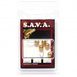Мормышка S.A.V.A Шар с отверстием фигурный, золото