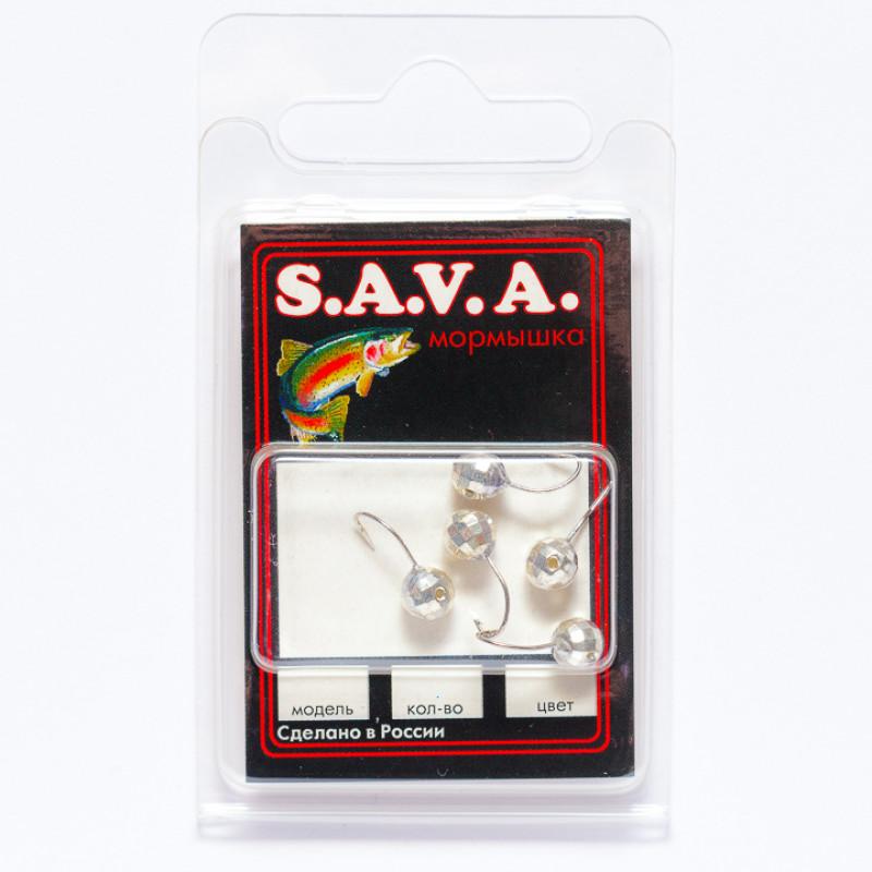 Мормышка S.A.V.A Шар с отверстием фигурный, никель