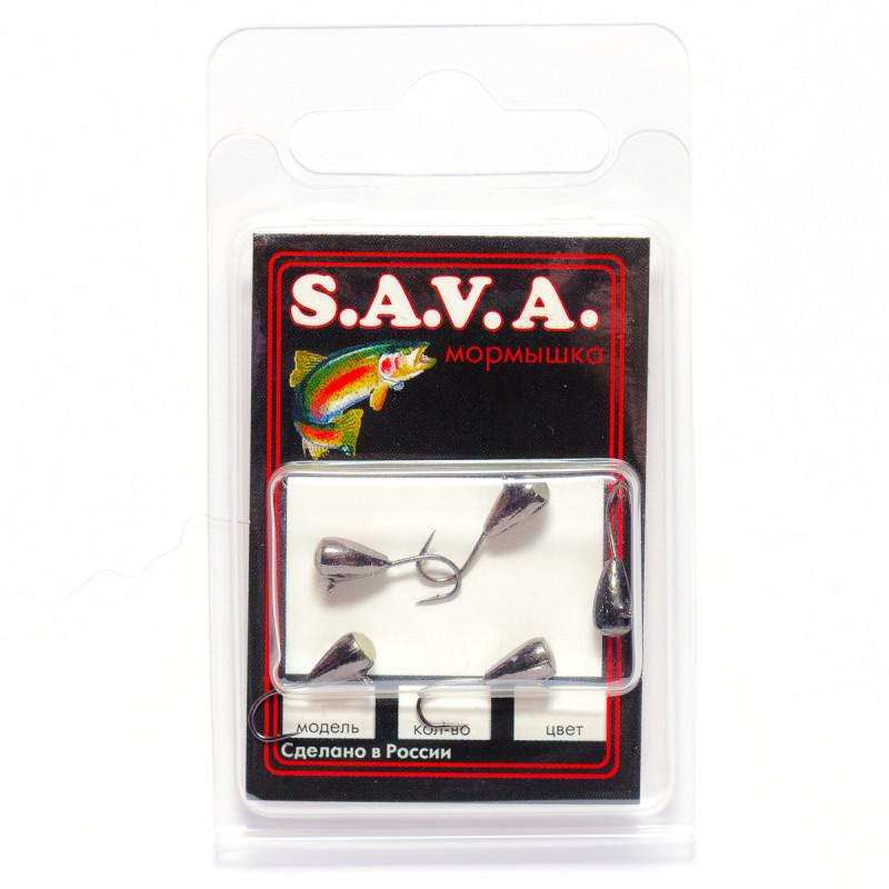 Мормышка S.A.V.A Капля с ушком и фосфором, чёрн. никель
