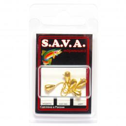 Мормышка S.A.V.A Капля с ушком и фосфором, золото