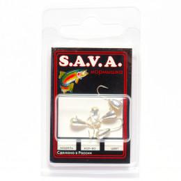 Мормышка S.A.V.A Капля с ушком и фосфором, серебро