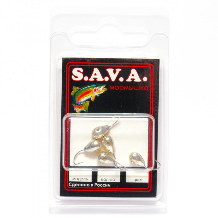 Мормышка S.A.V.A Капля с отверстием, серебро