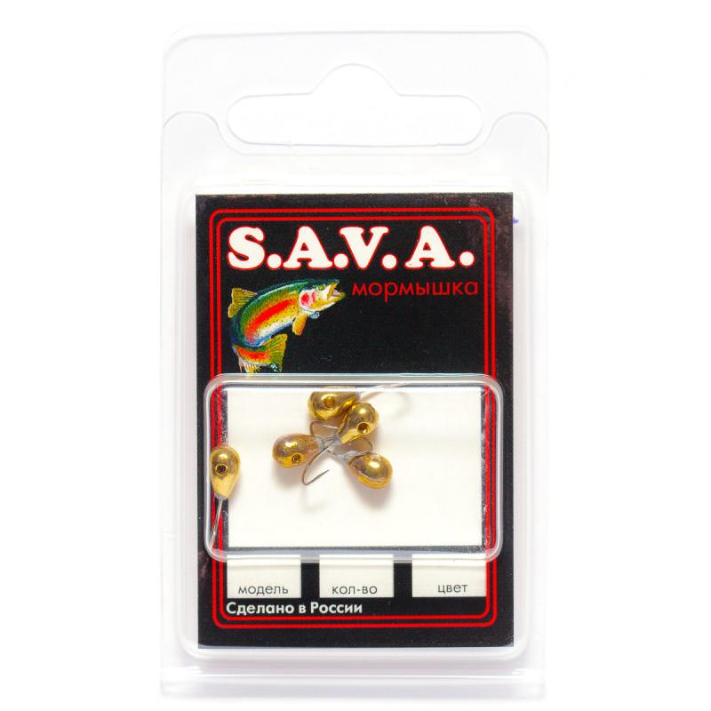 Мормышка S.A.V.A Капля с отверстием, золото