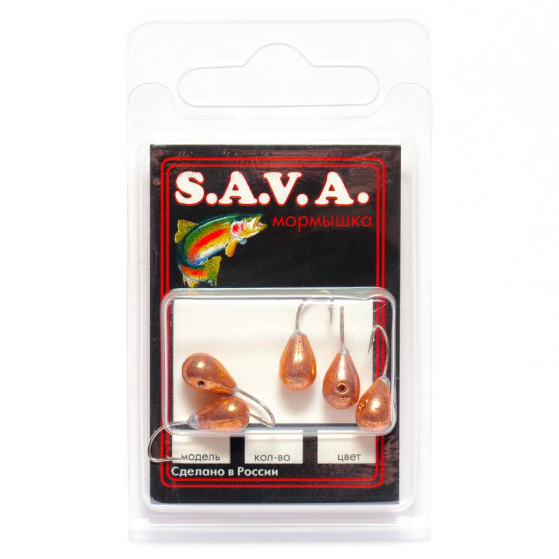 Мормышка S.A.V.A Капля с отверстием, медь