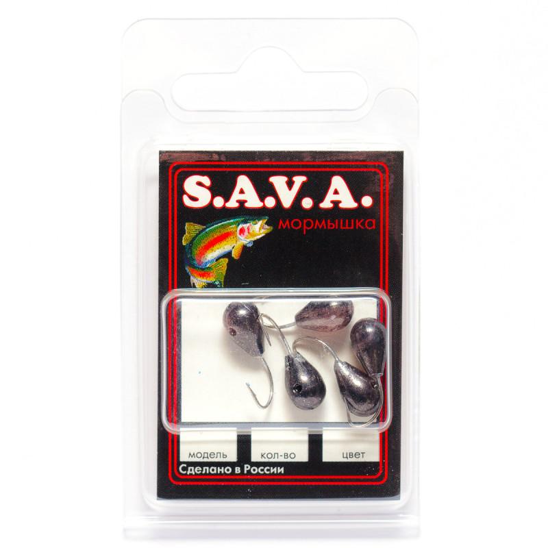 Мормышка S.A.V.A Капля с отверстием, чёрн. никель