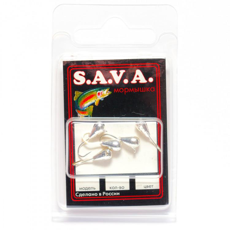 Мормышка S.A.V.A Капля с ушком, серебро