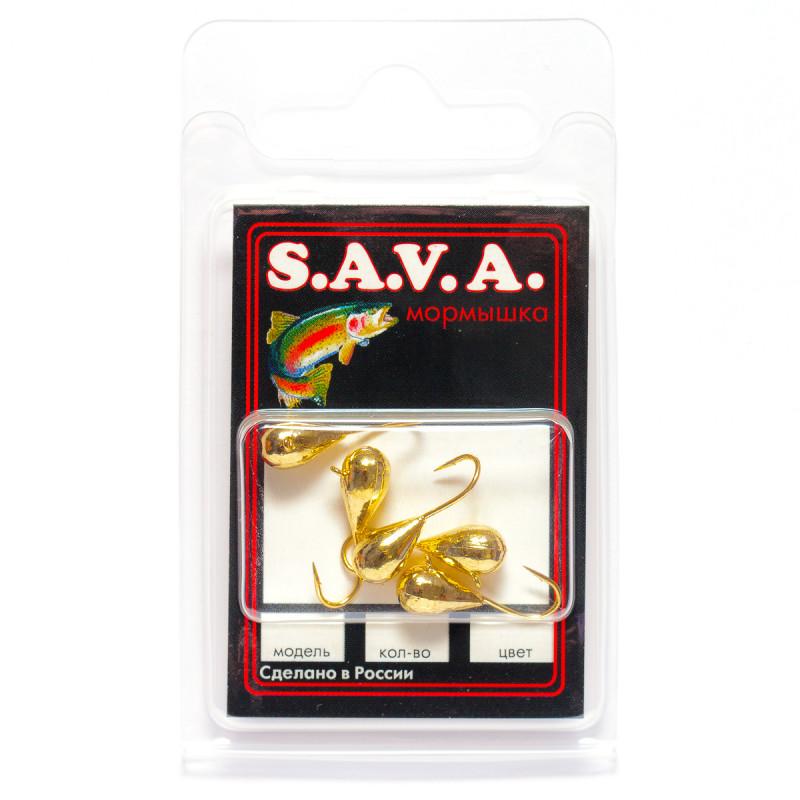 Мормышка S.A.V.A Капля с ушком, золото