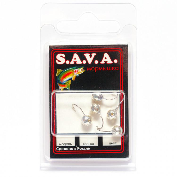 Мормышка S.A.V.A Шар с отверстием фигурный, серебро